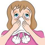 Женщина дуя носа иллюстрация штока