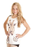 Женщина улыбки жирафа танка женщины Стоковое Изображение