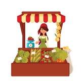Женщина фермера продает овощи в большой части иллюстрация штока