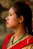 Женщина фестиваля Teej, квадрата Durbar, Катманду, Непала Стоковое фото RF