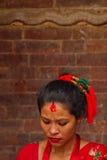 Женщина фестиваля Teej, квадрата Durbar, Катманду, Непала Стоковые Изображения