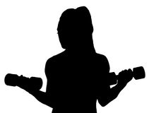Женщина фитнеса вектора держа гантели Стоковая Фотография RF