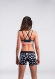Женщина фитнеса в бюстгальтере спорт и шортах, вид сзади красивейшие детеныши женщины студии съемки танцы пар Стоковое Изображение
