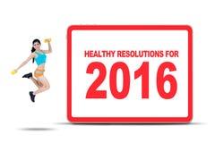 Женщина фитнеса с здоровым разрешением на 2016 Стоковые Фотографии RF