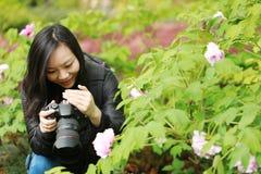 Женщина фотографа перемещения природы с солнечностью весной, смотрящ экран carmer Стоковое Изображение