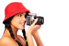 женщина фотографа Стоковое Фото