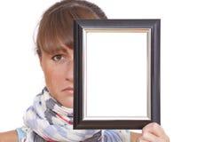женщина фото рамки унылая Стоковые Изображения