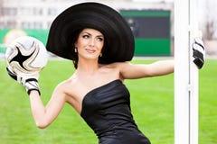 женщина футбола шарика Стоковая Фотография
