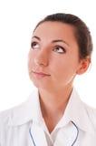 женщина халата портрета s доктора серьезная Стоковые Изображения RF