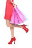 Женщина хозяйственной сумки - принципиальная схема покупателя Стоковые Фотографии RF