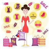 Женщина ходит по магазинам Стоковое фото RF