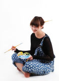 женщина художника smling стоковые изображения rf