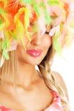 женщина цветастого смешного шлема симпатичная Стоковая Фотография RF