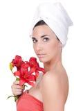женщина цветка ванны Стоковые Фотографии RF