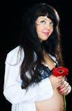 женщина цветка супоросая красная Стоковые Фото