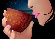 женщина чашки бесплатная иллюстрация