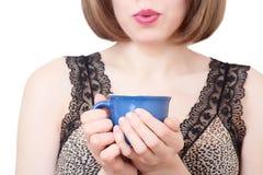 женщина чая кофейной чашки горячая Стоковое Изображение