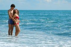женщина человека пляжа Стоковое Изображение