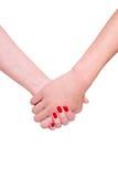 женщина человека рук Стоковое Изображение