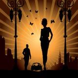 женщина человека свободной влюбленности города автомобиля урбанская иллюстрация штока