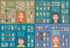 Женщина, человек, девушка, конструкторы характера мальчика иллюстрация вектора