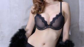 женщина черного женское бельё сексуальная Стоковые Фотографии RF
