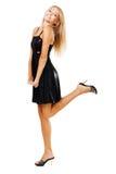 женщина черного жизнерадостного платья шикарная Стоковые Изображения RF