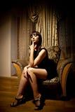 женщина черного платья сексуальная Стоковое фото RF