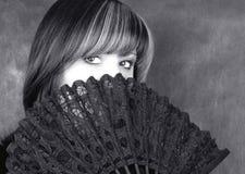 женщина черного прелестно портрета белая стоковое изображение