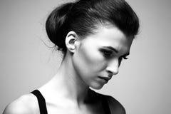 женщина черного роскошного портрета белая Стоковые Фото