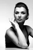 женщина черного роскошного портрета белая Стоковые Изображения RF