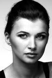 женщина черного роскошного портрета белая Стоковое Изображение