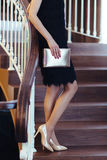 женщина черного способа платья сексуальная Стоковые Фотографии RF