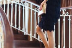 женщина черного способа платья сексуальная Стоковая Фотография RF