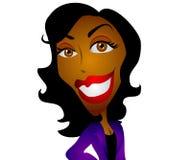 женщина черного шаржа счастливая бесплатная иллюстрация