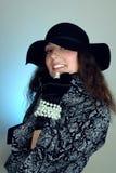 женщина черной шляпы Стоковое Фото