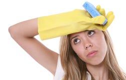 женщина чистки Стоковые Изображения