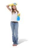 женщина чистки стоковое изображение rf