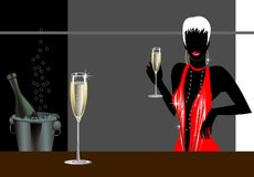 женщина шампанского бесплатная иллюстрация