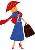 Женщина шаржа в голубом пальто с красным зонтиком Стоковые Изображения RF