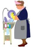 Женщина шаржа в желтых перчатках делая блюда Стоковые Фото