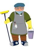 Женщина шаржа в желтых перчатках с mop пола Стоковое фото RF