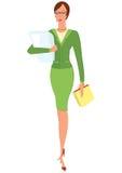 Женщина шаржа в зеленом костюме держа бумаги Стоковое фото RF