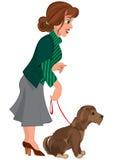 Женщина шаржа в зеленых striped свитере и собаке на поводке Стоковая Фотография RF