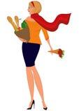 Женщина шаржа в красном шарфе с хозяйственной сумкой и цветками Стоковое Изображение RF