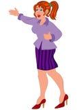 Женщина шаржа в фиолетовой рубашке и striped юбке Стоковые Изображения