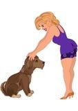 Женщина шаржа в фиолетовом обмундировании с собакой Стоковое Изображение