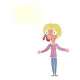 женщина шаржа говоря лож с пузырем речи Стоковые Фото