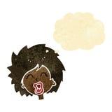 женщина шаржа кричащая с пузырем мысли Стоковое Фото