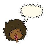 женщина шаржа кричащая с пузырем речи Стоковая Фотография